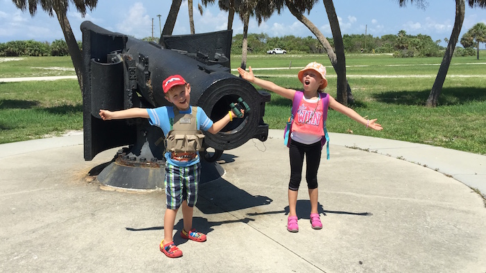 Checking out the cannons at the old fort.