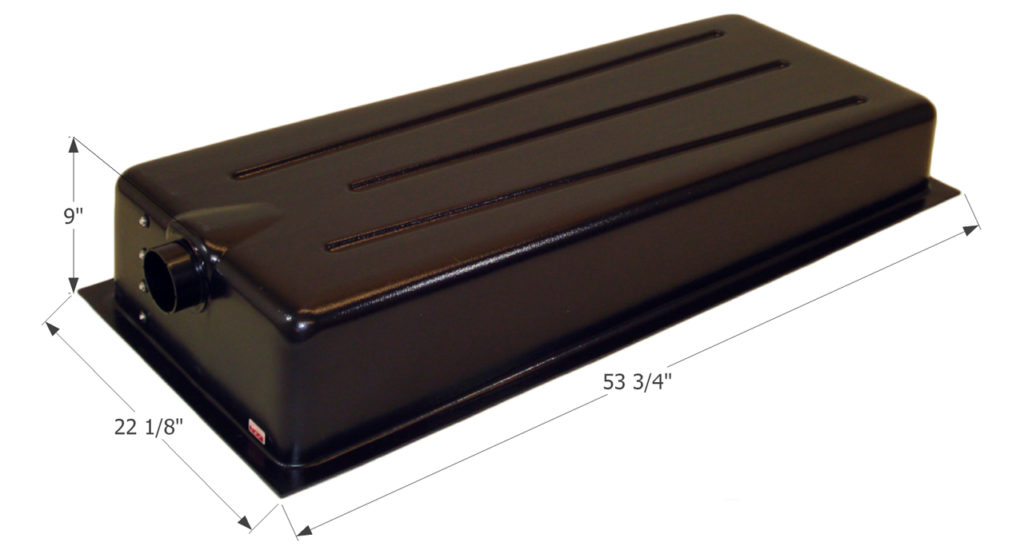A typical RV holding tank. Nevermind the dimensions because it will differ from RV to RV.