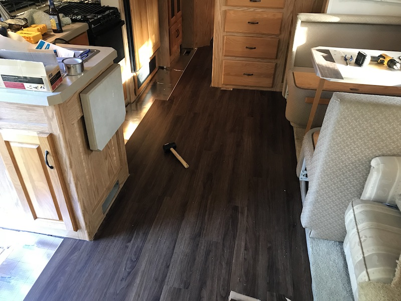 Reflooring The Rv Installing Luxury Vinyl Planks Happilyrv